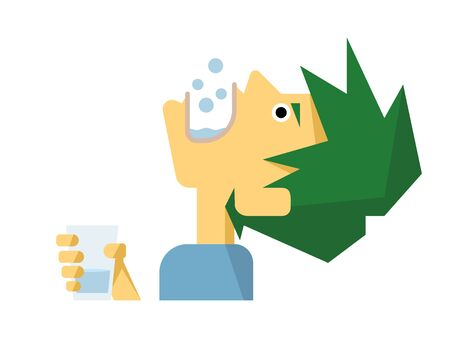 Cute and simple illustrations of gargling men Illustration