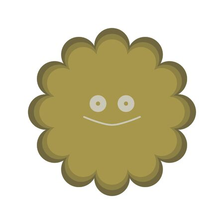 Illustration of a cute fungus of the ocher color of the expression that seems to be mischievous 向量圖像