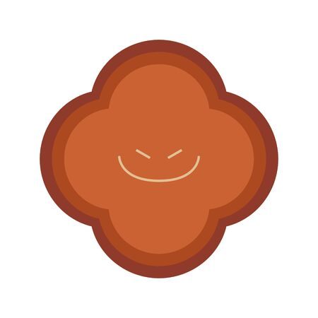 Illustration of a cute brown fungus with a mischievous look 免版税图像 - 130307938