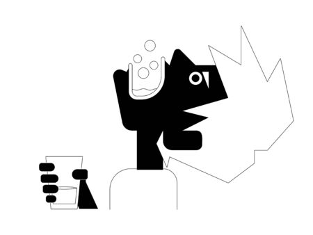 Cute and simple monochrome illustrations of gargling men 矢量图像