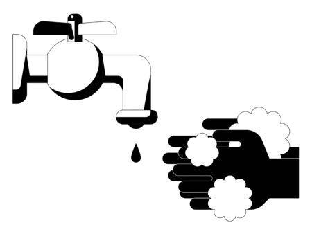 Simple monochrome illustrations of hand washing Illustration