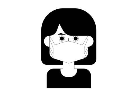 Cute and simple monochrome illustration of a woman with a maskbob cut 免版税图像 - 131006100