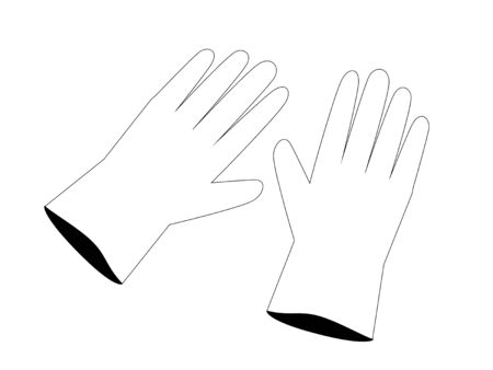 Simple monochrome illustrations of rubber gloves