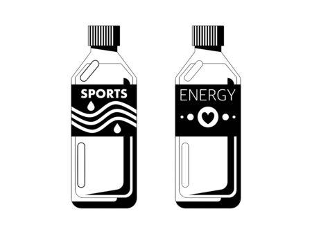 Simple monochrome illustrations of sports drinks 일러스트