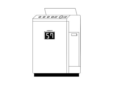 Simple monochrome illustration of an air purifier with buttons and display 矢量图像