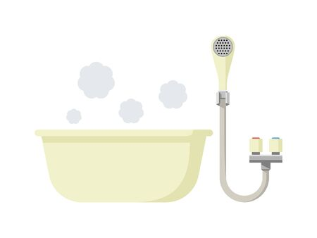 Simple illustration of bath and shower 矢量图像