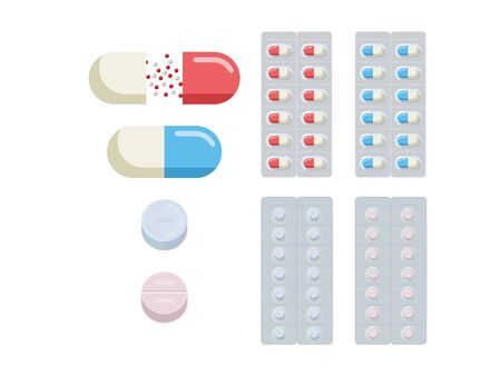 Simple illustration set of capsules and tablet pills