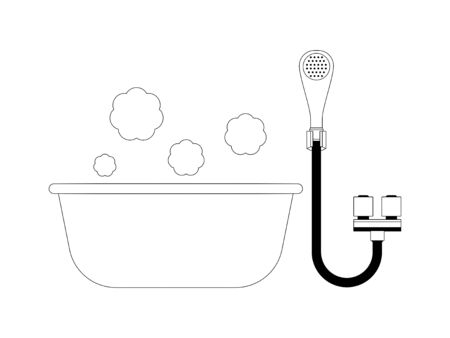 Simple monochrome illustrations of baths and showers