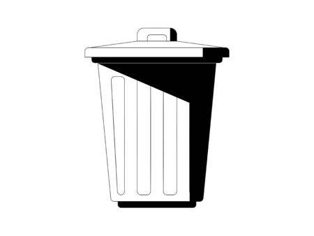 Simple black and white illustration of trash