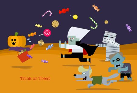Vector illustration 01 of the design that can be used for the greeting card with the motif of the character of Halloween