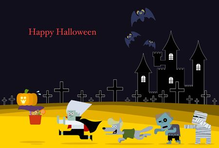 Vector illustration 04 of the design that can be used for the greeting card with the motif of the character of Halloween