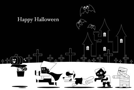 Vector illustration 05 of the design that can be used for the greeting card with the motif of the character of Halloween