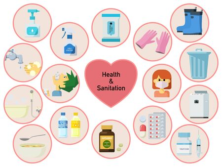 Round icon set for health and hygiene