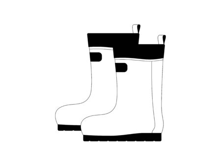 Simple monochrome illustrations of rubber boots