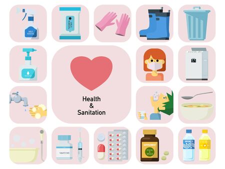 Simple icon illustration set for health and hygiene