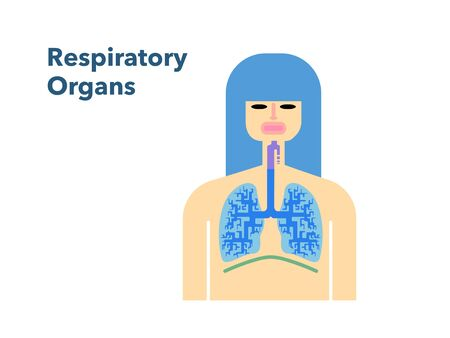 Simple illustration of a respiratory officer with the face of a woman in a white back