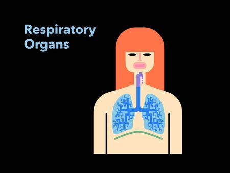 Simple illustration of a respiratory officer with the face of a woman in black back 矢量图像