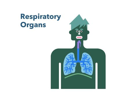 Simple illustration of a respiratory officer with a white back man's face