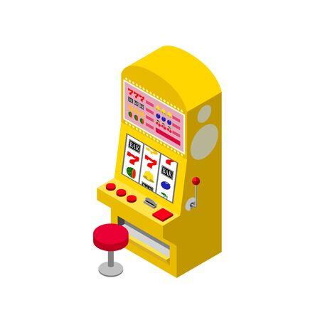 Isometric projection of yellow slot machines 免版税图像 - 135334324