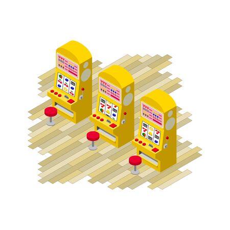 Isometric projection of three yellow slot machines