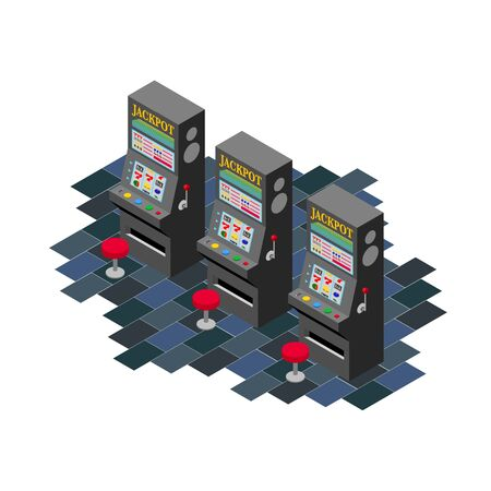 Isometric view of three black slot machines Stockfoto - 135334447