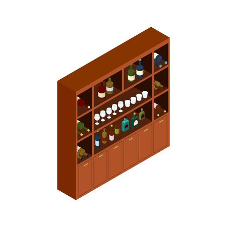Isometric projection of a shelf storing bottles