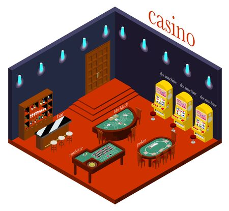 Isometric projection of an elegant casino (with the name of the game) 免版税图像 - 136076250