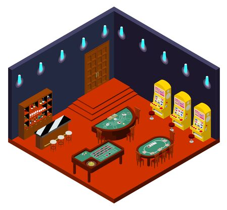 Elegant Casino Isometric Projections Stockfoto - 136076254
