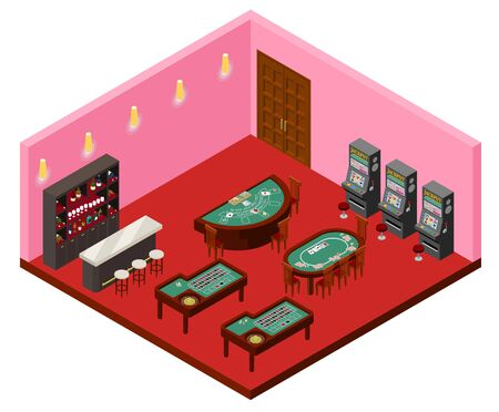 Isometric projection of a glamorous casino 免版税图像 - 136867557