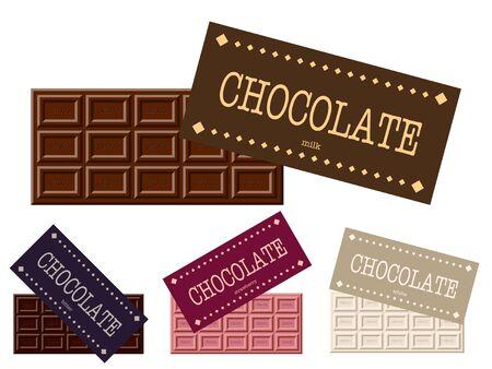 Illustration set of multiple bar of chocolates