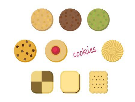 Illustration set of various cookies