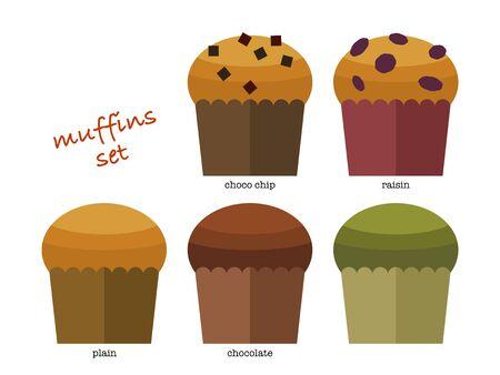 Illustration set of various muffins 矢量图像