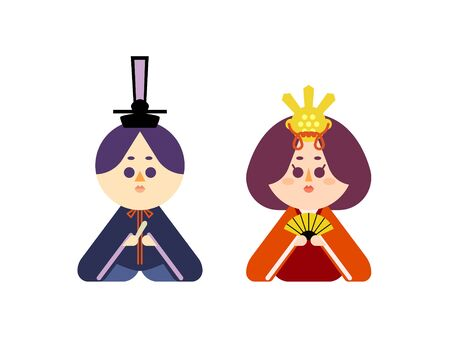 Illustration set that is easy to cut out of the man and the maid of the wax doll Stock Illustratie