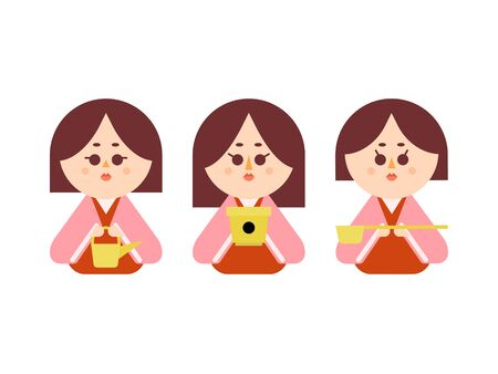 Illustration set that is easy to cut out of the three official women of the wax doll 免版税图像 - 140202326