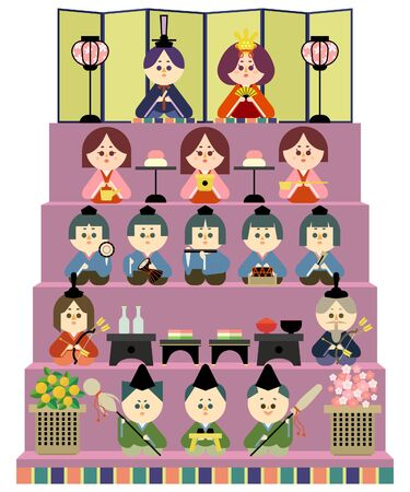 Illustration of a five-stage altar and a wax doll 免版税图像 - 140254673