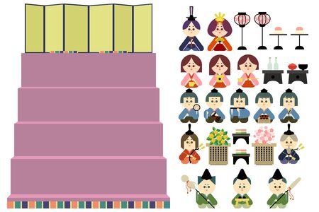 Five-stage altar and easy-to-cut illustration set of wax dolls 免版税图像 - 140254674