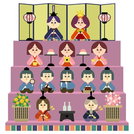 Illustration of a four-tiered altar and a wax doll 免版税图像 - 140202323