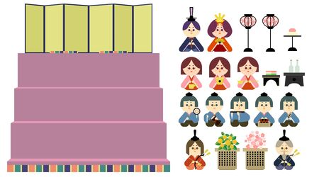 Illustration set that is easy to cut out of the four-stage altar and the wax doll