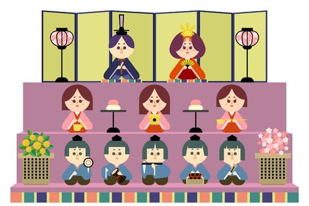 Illustration of a three-tiered altar and a wax doll 免版税图像 - 140202548
