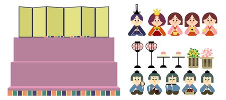 Illustration set that is easy to cut out of the three-stage altar and the wax doll Stock Illustratie