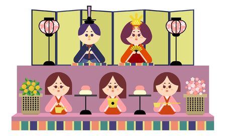 Illustration of a two-tiered altar and a wax doll 矢量图像