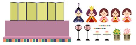 Illustration set that is easy to cut out of the two-stage altar and the wax doll