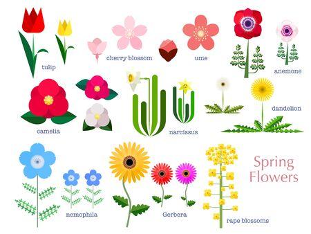 Simple illustration set of spring flowers 免版税图像 - 140797393