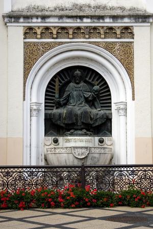 saint stephen cathedral: Saint Istvan Statue on the Cathedral of Kaposvar Stock Photo