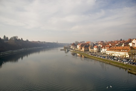 City Maribor with river Drava Stock Photo