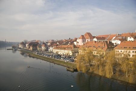 drava: City Maribor with river Drava Stock Photo