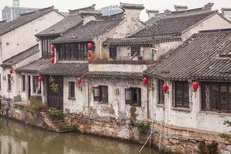 chinese courtyard: Traditional Chinese courtyard with decorated with red Chinese lanterns.