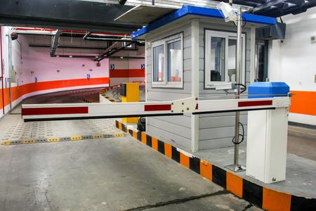 car park interior: barrier in a car park