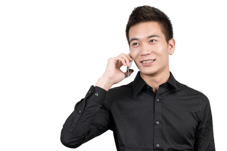 color photographs: Young business men in front of a white background