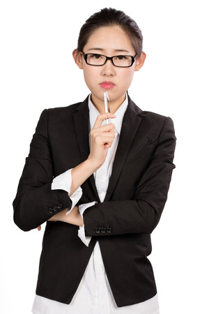appropriately: Young business lady in front of a white background
